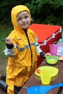 lucy in rainsuit